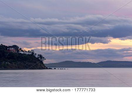 Dusk over southern Tasmania, Australia, near the town of Dodges Ferry.