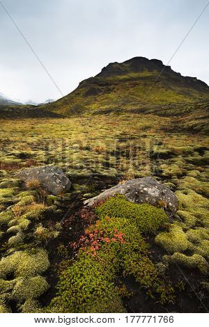 A mountain scene in the Icelandic countryside not far from the main Ring Road.