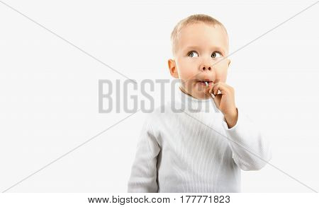 Happy Baby Boy Eating Candy Lollipop,