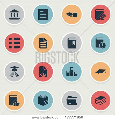 Vector Illustration Set Of Simple Reading Icons. Elements Cover, Letter, Checklist And Other Synonyms Bookmark, Textbook And Sketchbook.