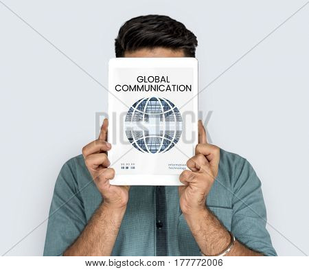 Graphic of global communication connection technology on digital tablet