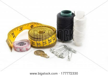 Sewing Tools On White Background