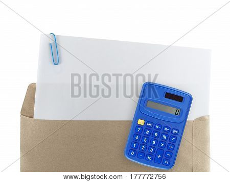 white paper with paperclip in brown envelope and blue calculator isolated on white background, blank page of business and financial documents