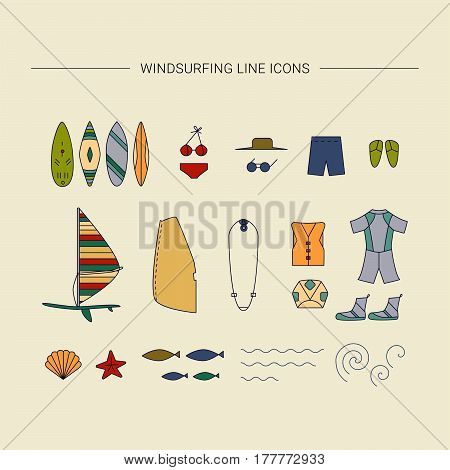 Windsurfing line icons. Vector Summer Surf collection.