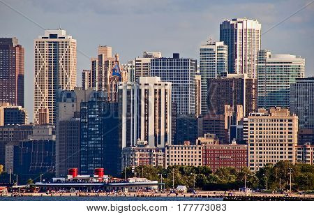 Downtown chicago buildings and skyline Close up