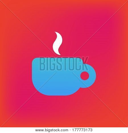 Vector icon or illustration showing perk or cafe with cup of coffeee or tea in brutalism style
