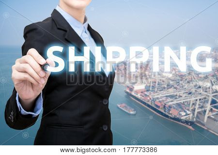 Smart Business Woman Is Writing Shipping Concept With Shipping Boat At Shipping Yard In Background F