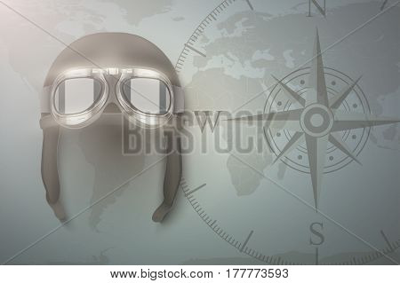 Background of Aviator and aircraft. Helmet on map. Aviation background