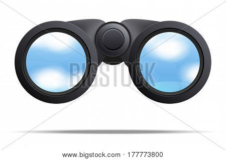 Realistic Binoculars. Optic and lens theme. Original design and Front view. Illustration Isolated on white background.