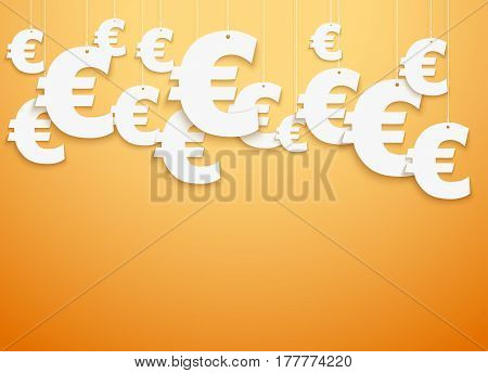 Bright Background of hung symbols Euro with space for text. Banking and Money Illustration