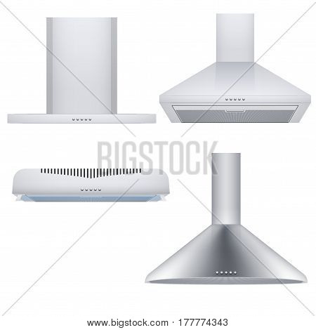Set of different Kitchen range hoods. Front view. Domestic equipment. Product illustration Isolated on white background.