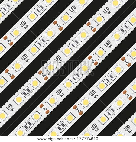 Background of typical LED tapes.  Illustration isolated on black background
