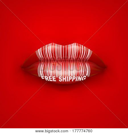 Background of Woman mouth with lips and tag Free Shipping. Sale ot promotion illustration.