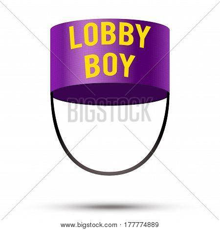 Lobby boy Hat. Hotel resort service symbol.  Illustration isolated on a white background.