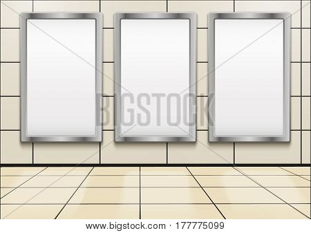 Empty mock-up three vertical billboards inside metro or subway.  Illustration isolated on white background.