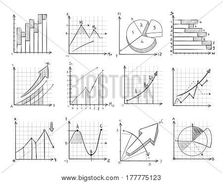 Cartoon sketch business graphic, charts vector doodle infographics elements. Statistic growth graph and chart, illustration of financial chart for presentation