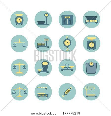 Vintage balance, electronic and mechanical scales, weight measurement flat vector icons. Scales for luggage or medical, precise scale measurement illustration