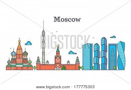 Moscow vector line panorama, modern city skyline, russia outline symbol, flat urban landscape. Skyline moscow design, illustration of moscow city panorama