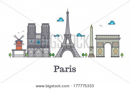 Modern france travel line landmark, paris panorama vector illustration. French eiffel tower, famous place notre dame and french triumphal arc