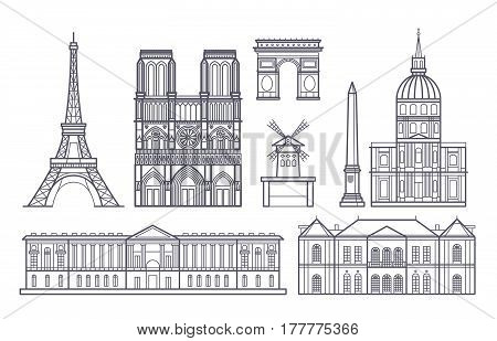 Outline paris landscape, france vector landmarks icons. Paris landmarks eiffel tower, illustration of french famous landmarks montmartre and basilique notre dame