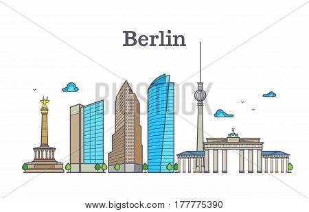 Berlin silhouette skyline panorama, city landscape vector illustration. Berlin city building architecture, panorama of berlin with tower and house