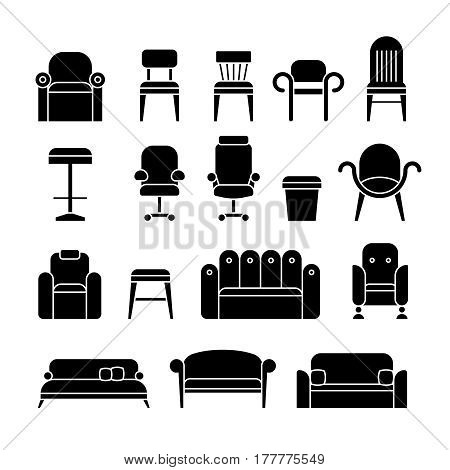 Office hair, armchair, lounge, comfortable sofa, couch furniture vector icons. Set of furniture black silhouettes