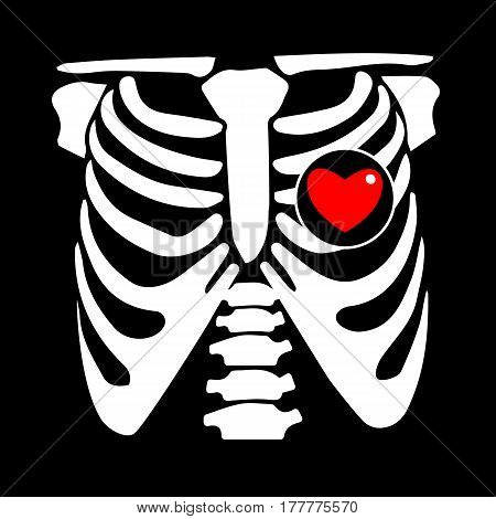 chest, rib, vector, skeleton, heart, bone, illustration, ray, xray, film