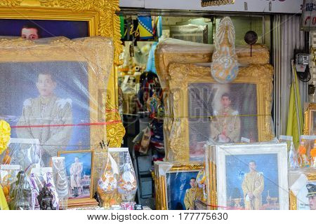 March 19 2017. Large framed pictures of King Maha Vajiralongkorn wrapped in bubble wrap on display at a store. Bangkok Thailand. Travel and culture concept.