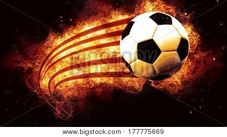 football ball soccer on fire flames explosion burning explode