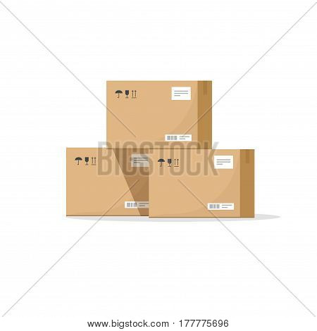 Parcel boxes carton vector illustration, warehouse parts, cardboard cargo shipment boxes, package paper box flat cartoon design isolated on white