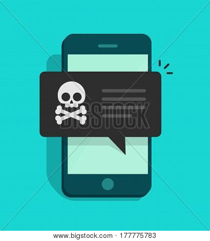 Back malware notification on mobile phone vector, flat style smartphone with skull bones alert, concept of spam data on cellphone, fraud error message, scam, virus