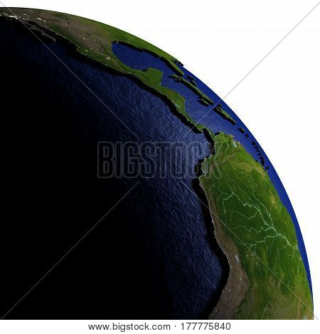 Eastern Pacific On Model Of Earth With Embossed Land