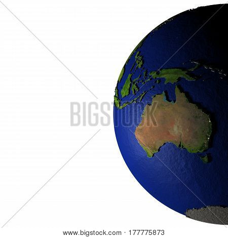 Australia On Model Of Earth With Embossed Land