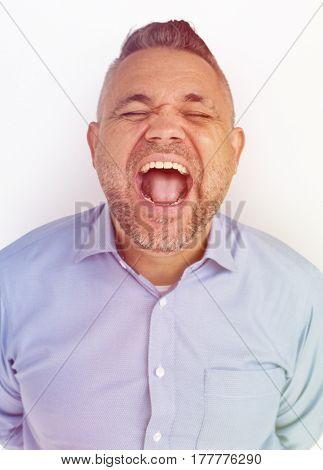 Man Laugh Face Expression Studio Portrait