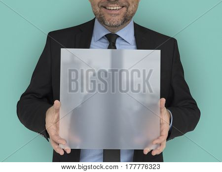 Business Man Holding Panel Smiling