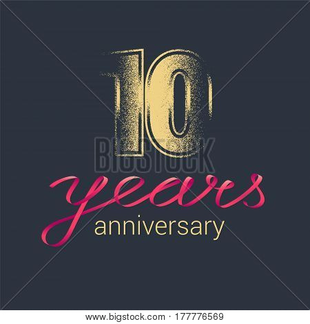 10 years anniversary vector logo. Graphic design element with golden glitter stamp for decoration for 10th anniversary
