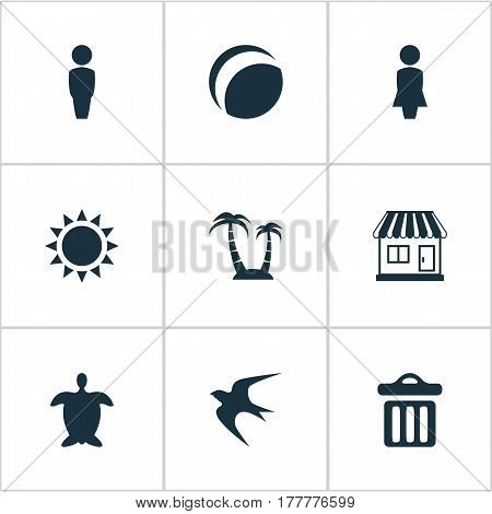 Vector Illustration Set Of Simple Beach Icons. Elements Palm, Tortoise, Beach Games And Other Synonyms House, Sea And Male.