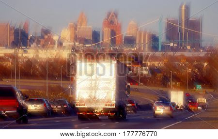 Freeway traffic into downtown detroit rush hour