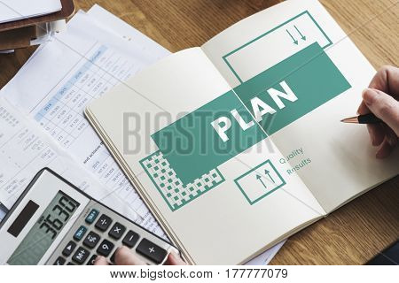 Business strategy plan management on notebook