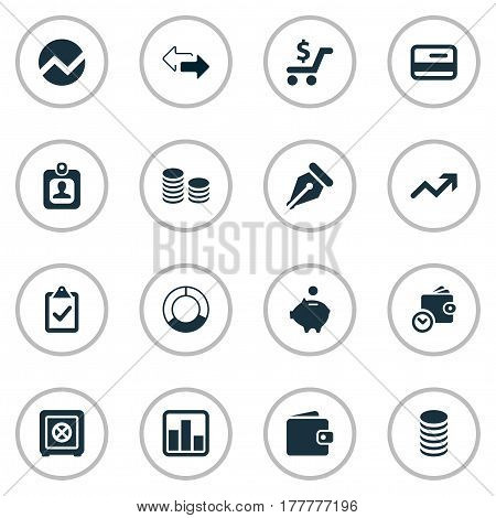 Vector Illustration Set Of Simple Financial Icons. Elements Nib, Strongbox, Line Chart And Other Synonyms Credit, Interest And Wallet.