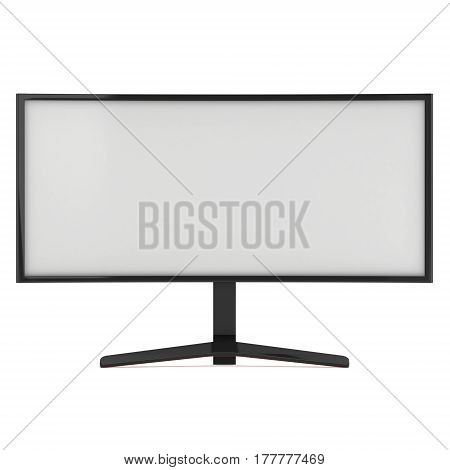 Black Curved LCD tv screen. 3d render isolated on white.