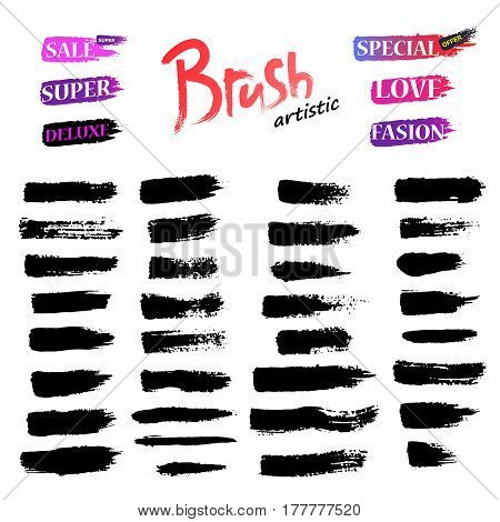 Set of Black ink vector stains. Set Collection Brushes Stroke
