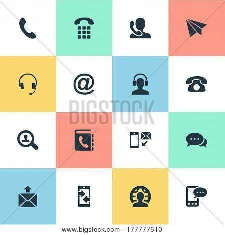 Vector Illustration Set Of Simple Contact Icons. Elements Telephone Switchboard, E-Mail Symbol, Job Research And Other Synonyms Outgoing, Telephone And Home.