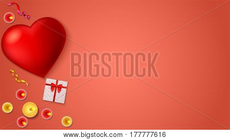 Romantic background, big red heart, burning candles, gift box with red bow and ribbon, colored serpentine, close-up on colored background. Template for greeting cards, invention or greetings