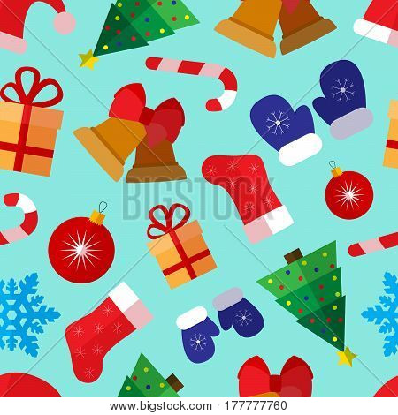 Seamless pattern background with colorful simple christmas and new year flat icons with long shadows on circles vector illustration