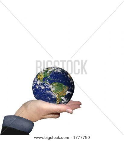 World In Hand On White