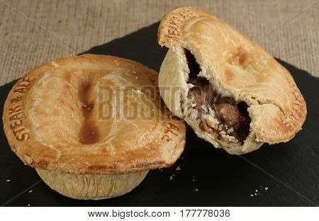 two fresh baked steak and ale pies