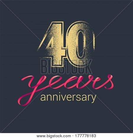 40 years anniversary vector icon logo. Graphic design element with golden glitter stamp for decoration for 40th anniversary