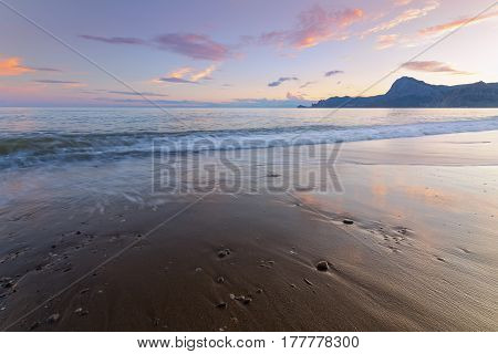 waves before sunset / colorful evening picture of the Crimea Sudak