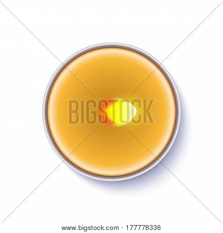 Realistic wax, flamed round candle in a metal case isolated on white backdrop. Top view on yellow burning candle. Template for invitation or greeting cards. Vector illustration.